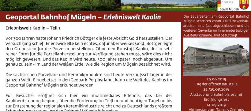 Eröffnung des Geoportal Bahnhof Mügeln – Erlebniswelt Kaolin – 24.08. und 25.08., jeweils 10.00 bis 18.00 Uhr