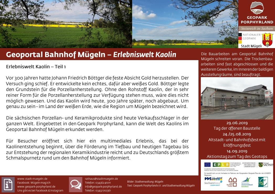 Eröffnung des Geoportal Bahnhof Mügeln - Erlebniswelt Kaolin – 24.08. und 25.08., jeweils 10.00 bis 18.00 Uhr